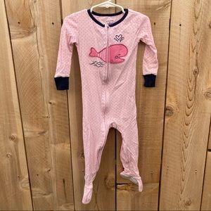 Absorba 2T polka dot whale cotton footie pajamas